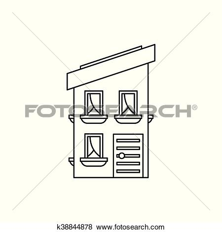 Clip Art of Two storey house with a sloping roof icon k38844878.