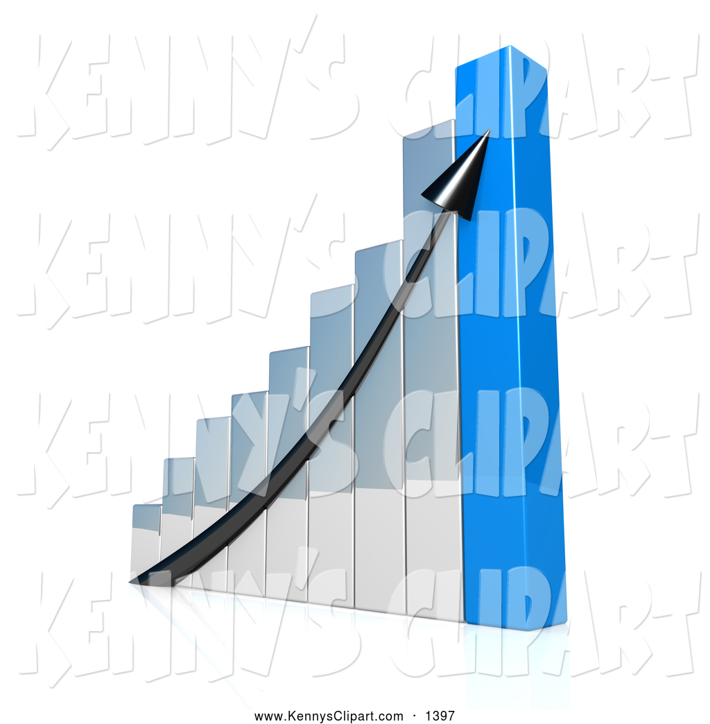 Clip Art of a Sloping Black Arrow Going up a Silver and Blue Bar.