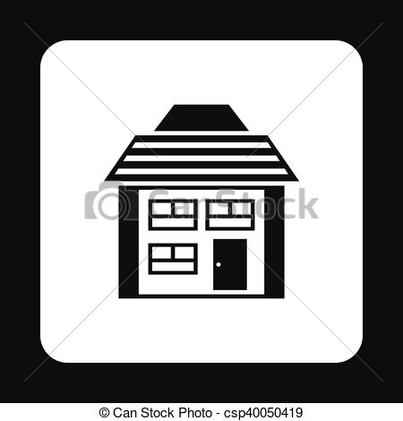 Vector Clip Art of Two storey house with sloping roof icon in.