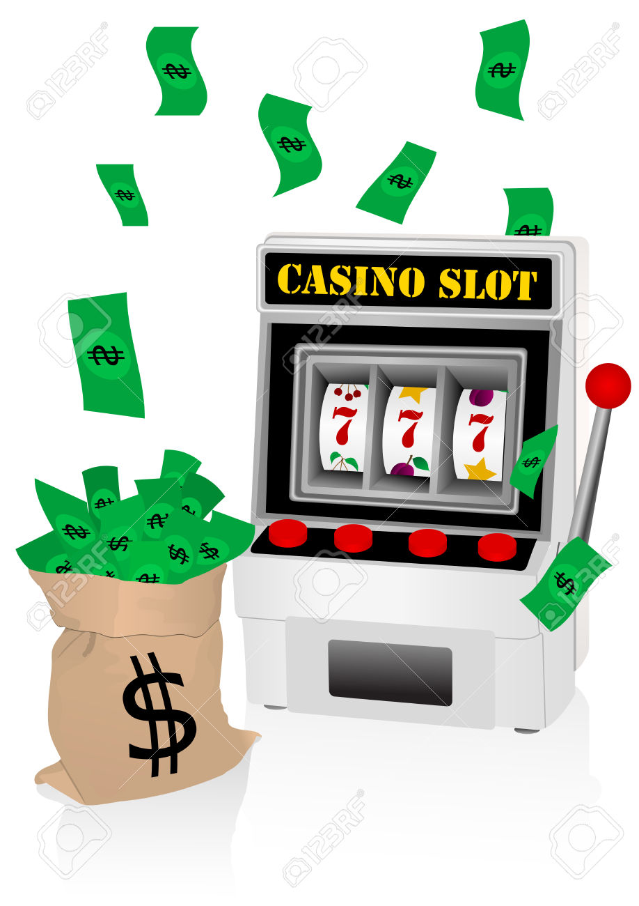 Casino Illustration With Slot Machine And Money Royalty Free.