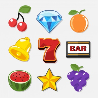 Slot machine symbols set for casino game. Vector.