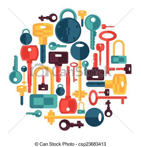 Vector Clip Art van sleutels, sloten, Ontwerp, achtergrond, iconen.