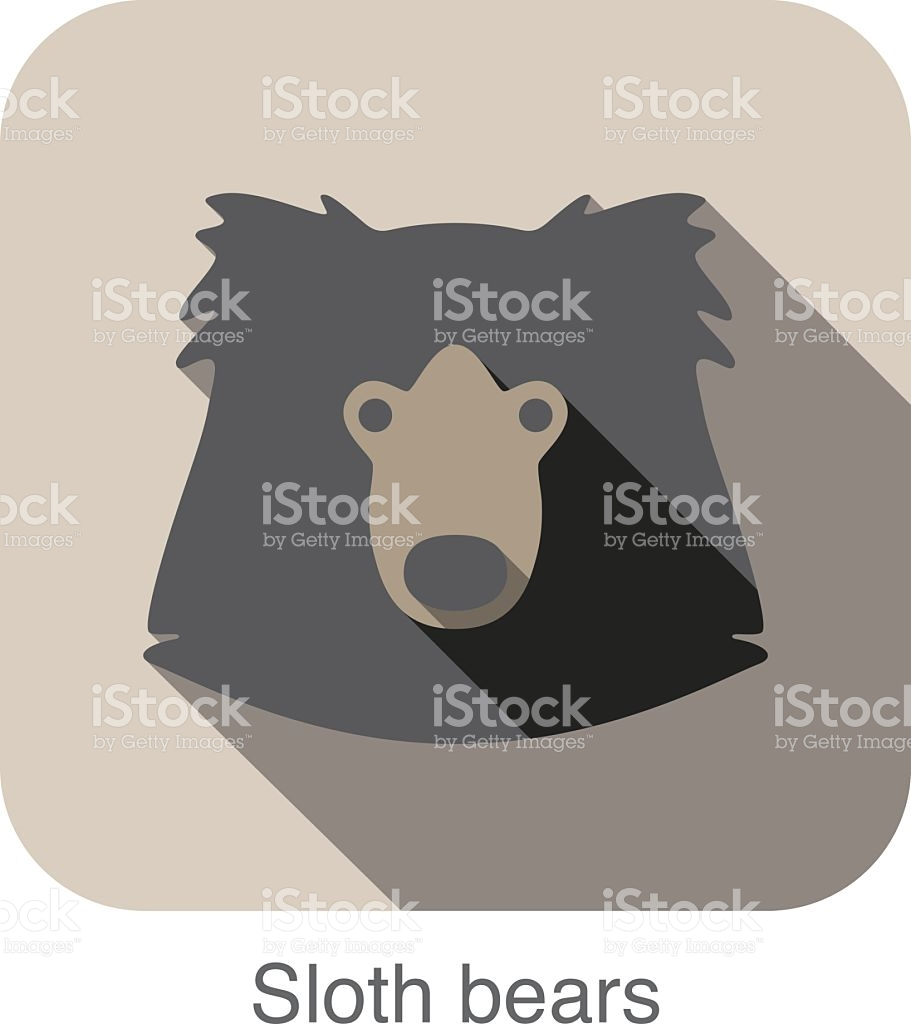 Sloth Bear Face Flat Icon Design Animal Icons Series stock vector.