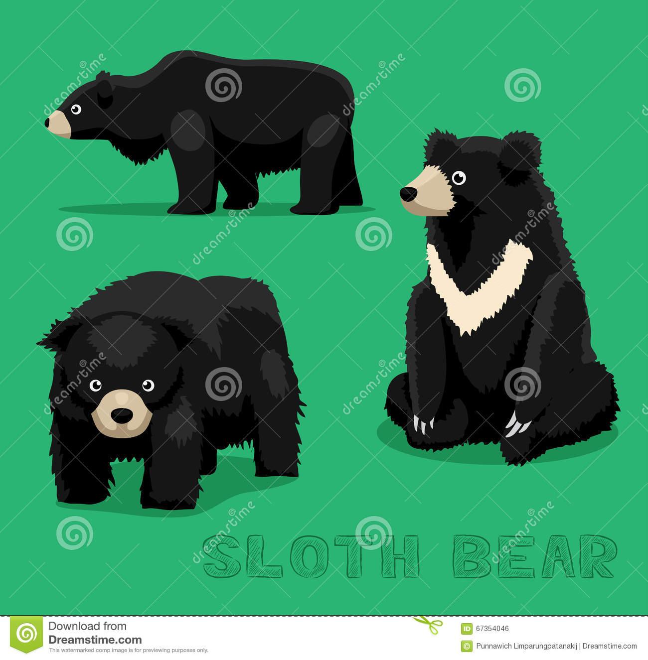 Bear Sloth Bear Cartoon Vector Illustration Stock Vector.
