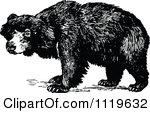 Clipart of a Retro Vintage Black and White Man and Bear in the.