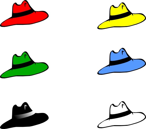 Slothing Men Six Hats clip art Free vector in Open office drawing.