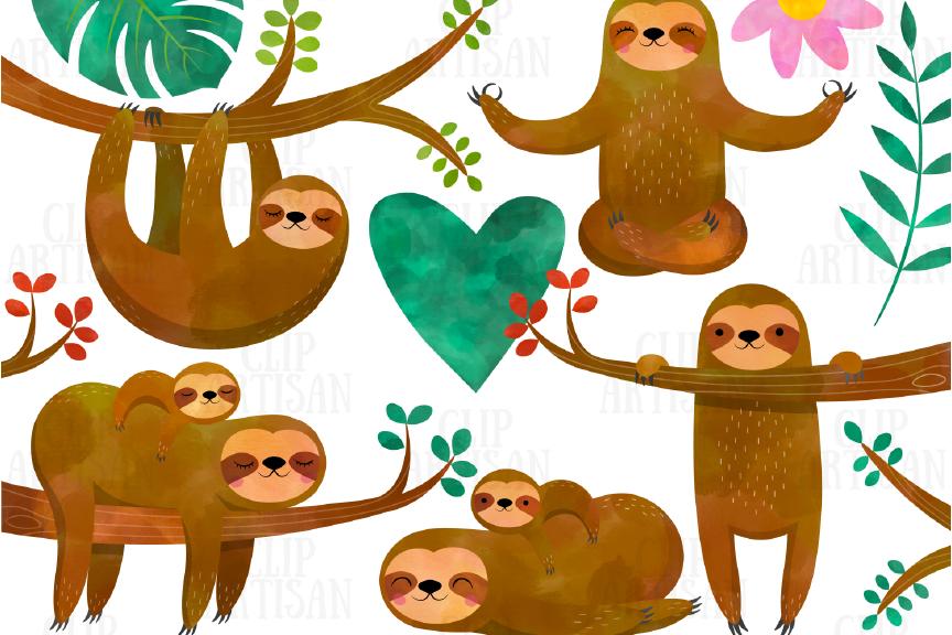 Watercolor Sloths Clipart.