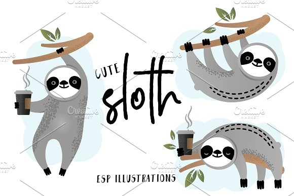 Sloths Clipart Set.