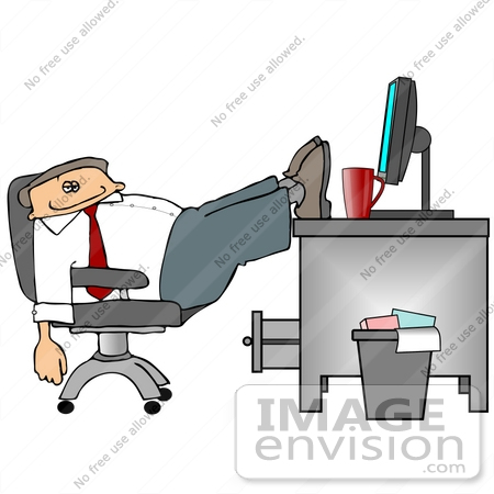 Business Employee Man Being Lazy, Slouching in His Chair With His.