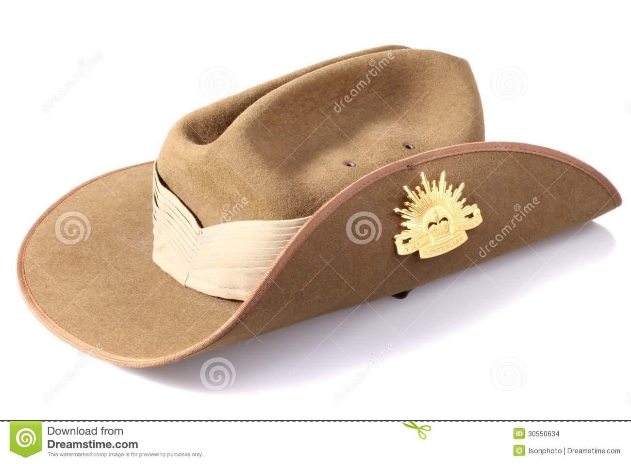 Australian Anzac Day Army Slouch Hat Stock Photo.