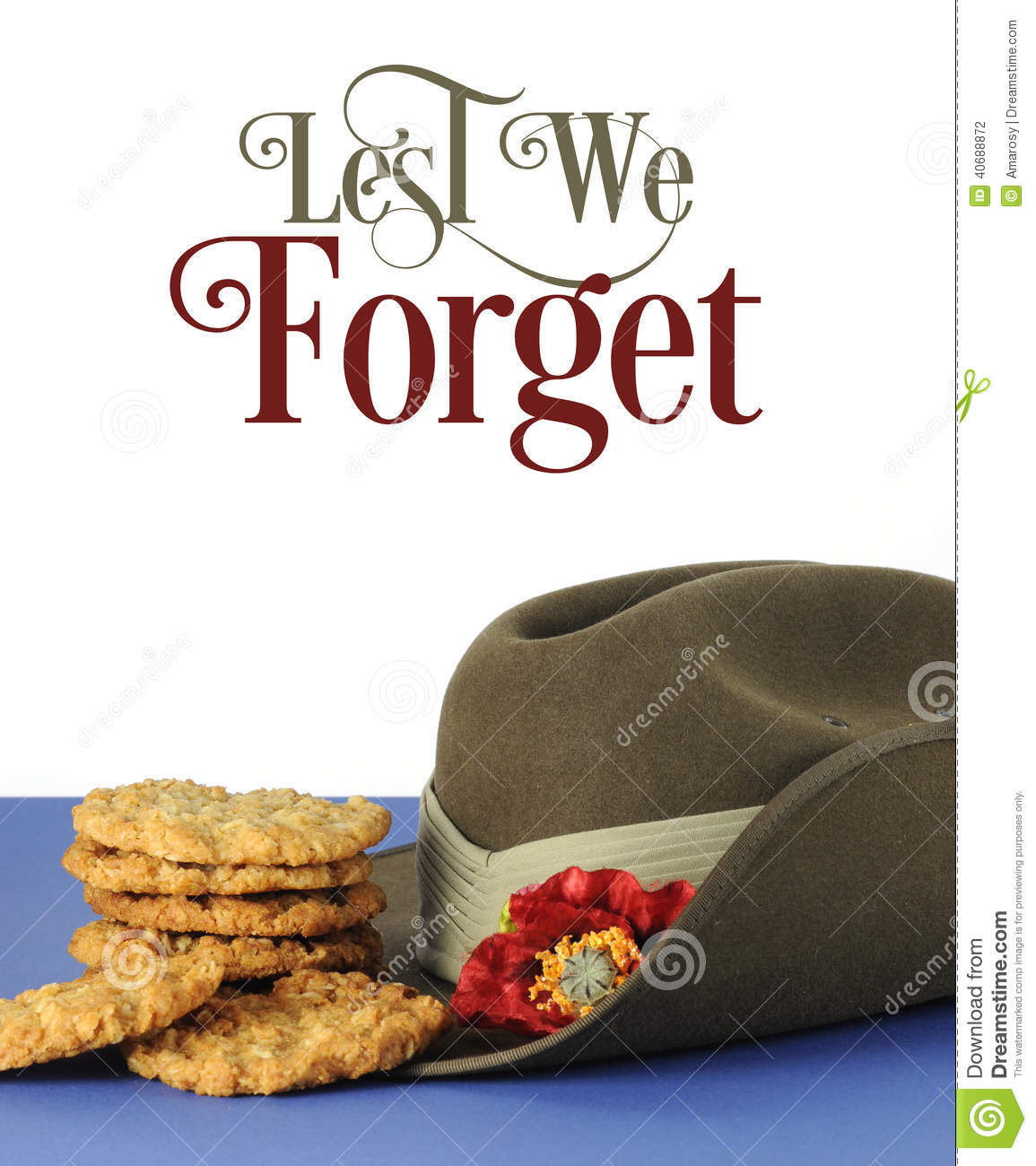 Australian Army Slouch Hat And Traditional Anzac Biscuits With.