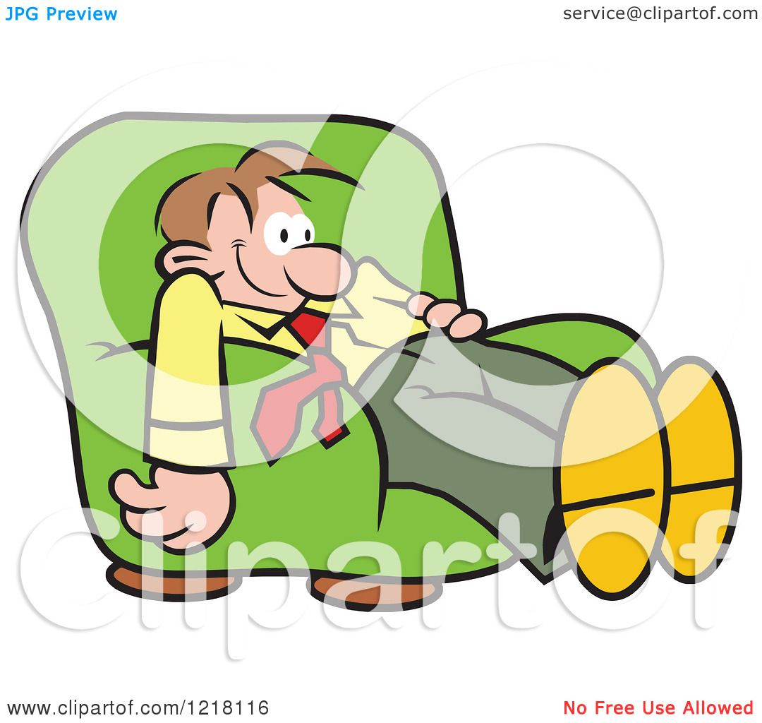 Clipart of a Happy Relaxed Man Dazing and Slouching in an Arm.