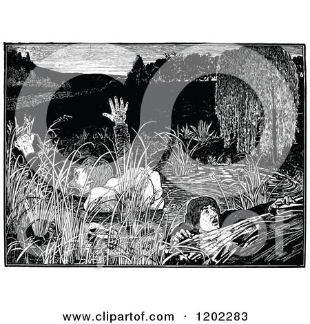 Clipart of Vintage Black and White Pilgrims Progress Celestial.