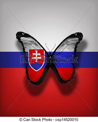 Clipart of Slovak flag butterfly, isolated on flag background.