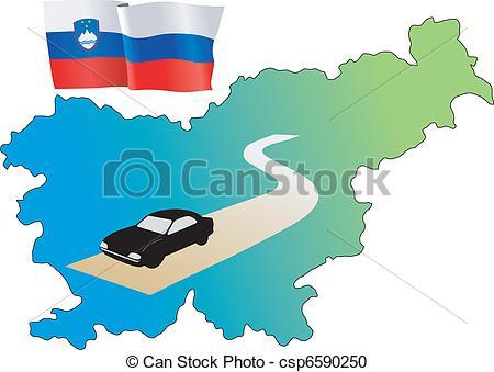 Vector Clipart of roads of Slovenia csp6590250.