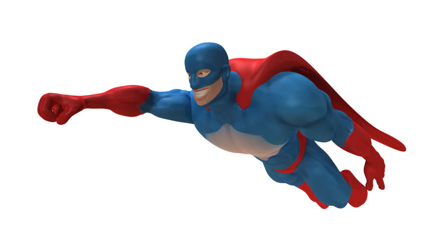Superhero Flying Across Sky, Slow Motion Stock Footage Video.