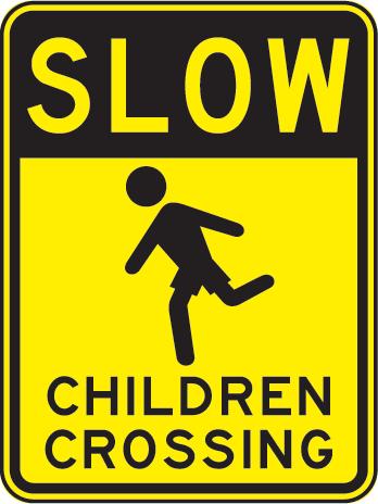 Down Children Playing Sign Design.