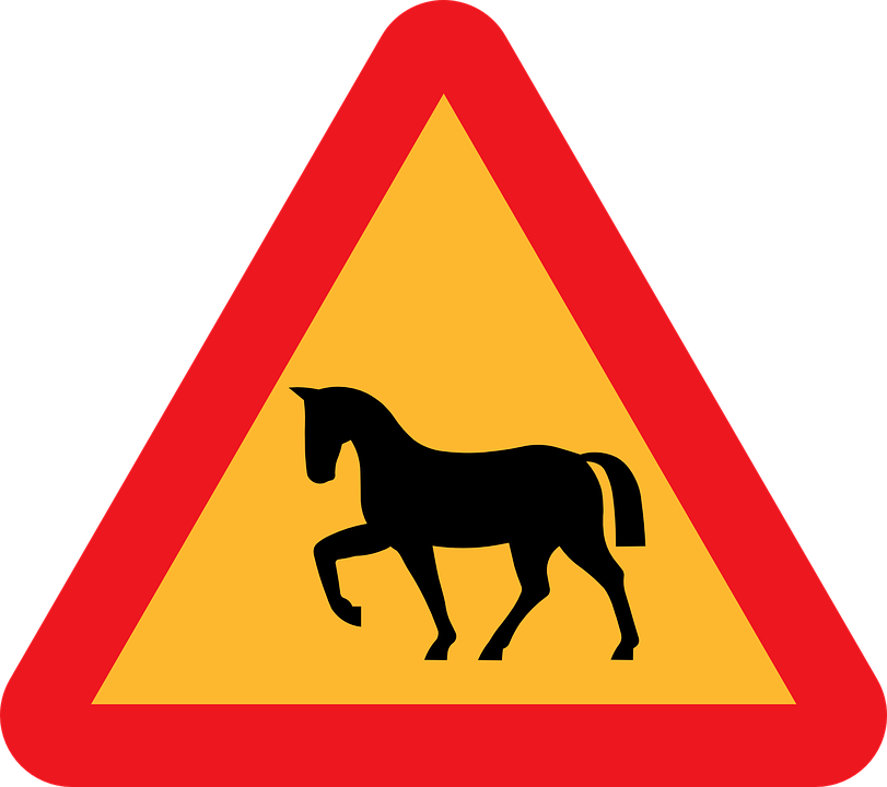 Free vector graphic: Horse Crossing, Roadsign, Road Sign.