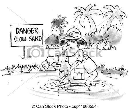Stock Illustrations of Impatient man sinks slowly in slow sand.