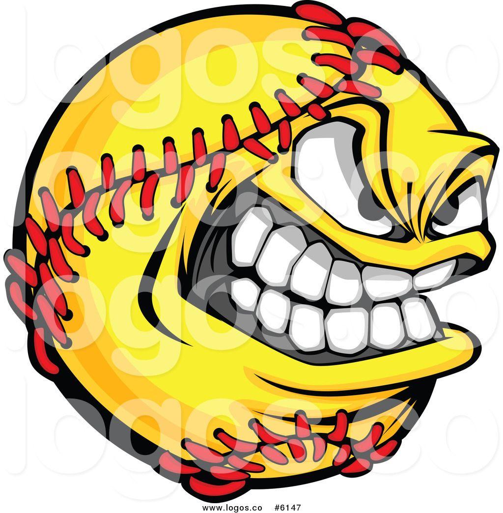 Royalty Free Clip Art Vector Logo of a Grinning Softball.