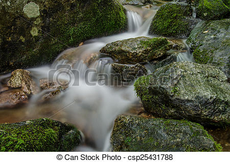 Pictures of Slow Shutter Speed Mossy Rocks.