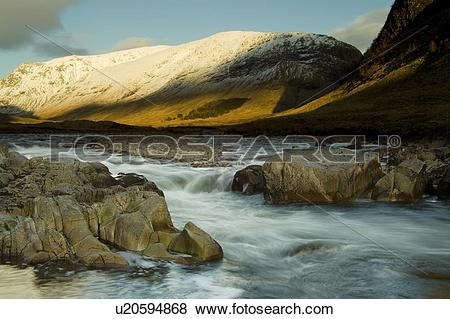 Pictures of River Etive flowing through Glen Etive in winter with.