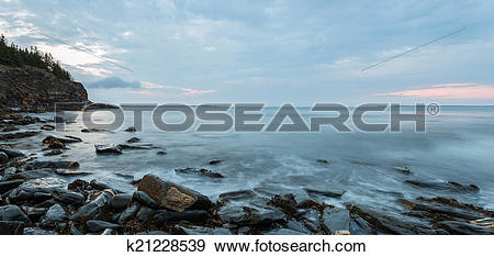 Stock Photograph of Panorama of ocean shore in the morning (Slow.