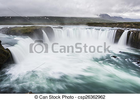Stock Image of Godafoss Waterfall, Iceland. Slow shutter speed.