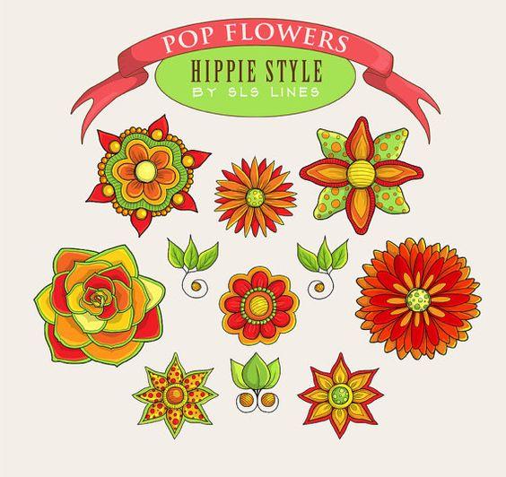 Retro flowers clipart orange and green garden flower clip art.