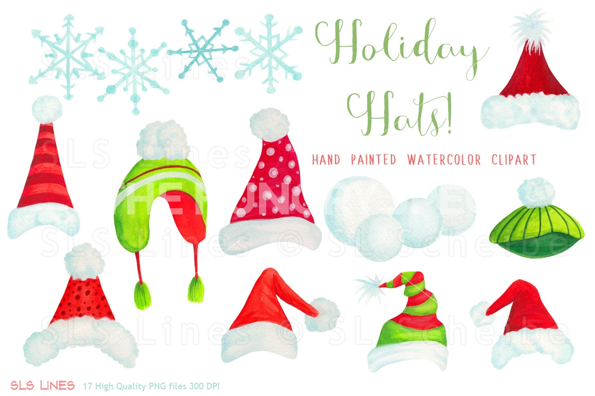 Christmas Holiday Hats Clipart by SLS Lines.