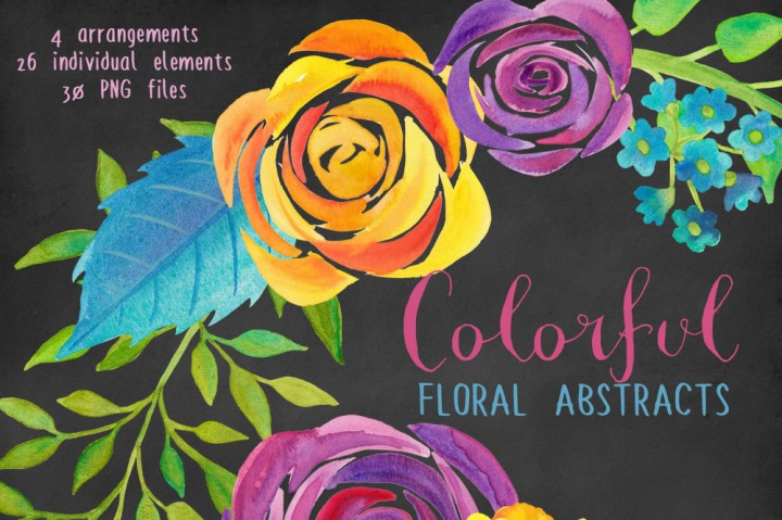 Colorful Flower Abstracts Watercolor Clipart by SLS Lines.