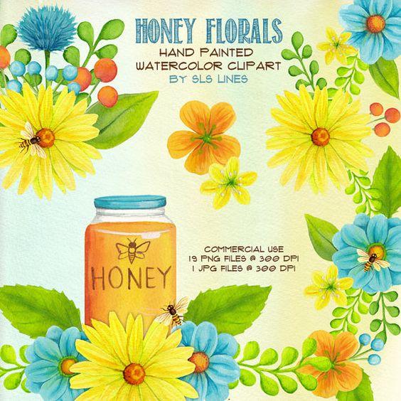 Honey Florals Clip Art SLS Lines.