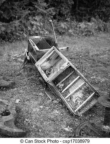 Picture of Old Mining Sluice Box, B&W.