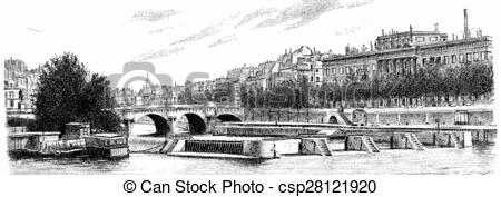 Clip Art of The Pont Neuf, the sluice and currency, vintage.