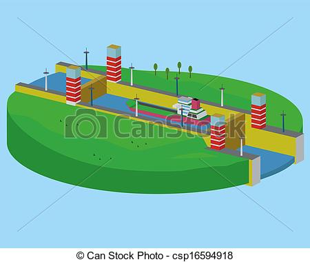 Vector Clip Art of Sluice. A device for raising and lowering boats.