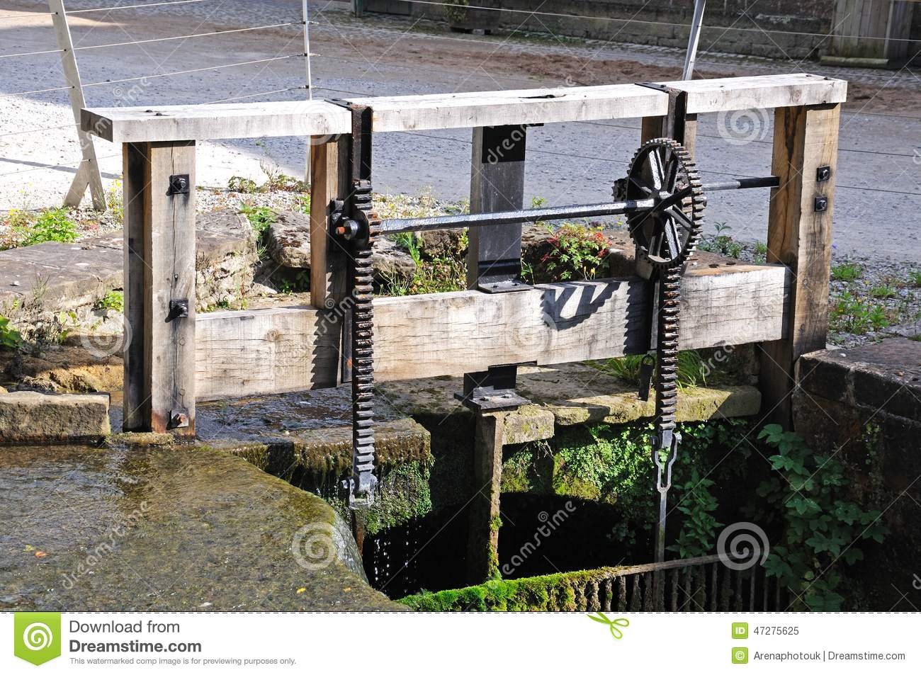 Sluice Gate At Cromford Mill. Stock Photo.