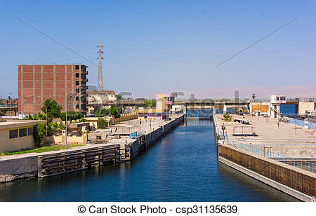 Stock Photos of Sluice gate on the Nile river, Egypt. watergate.