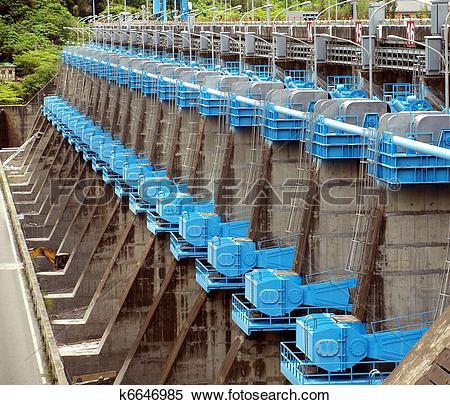 Stock Image of Large Sluice Gates at a Dam k6646985.