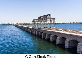 Stock Images of Sluice gate on the Nile river, Egypt. watergate.