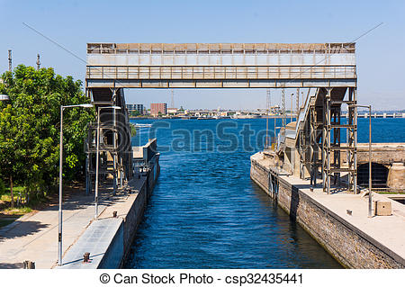 Stock Photo of Sluice gate on the Nile river, Egypt. watergate.