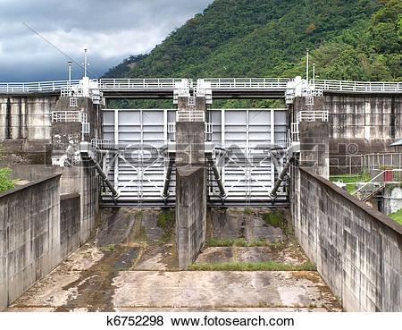 Pictures of Large Sluice Gates at a Reservoir k6752298.