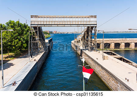 Stock Photography of Sluice gate on the Nile river, Egypt.