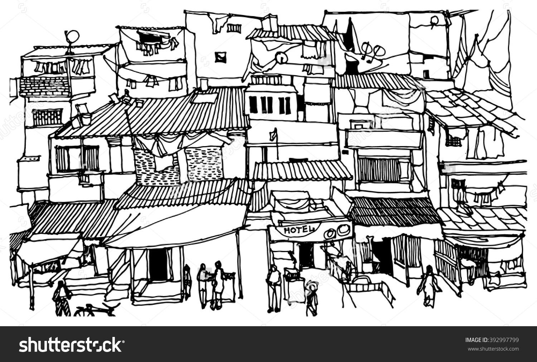 Slum area clipart.