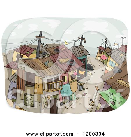 Cartoon of a Dirty Slum Neighborhood.