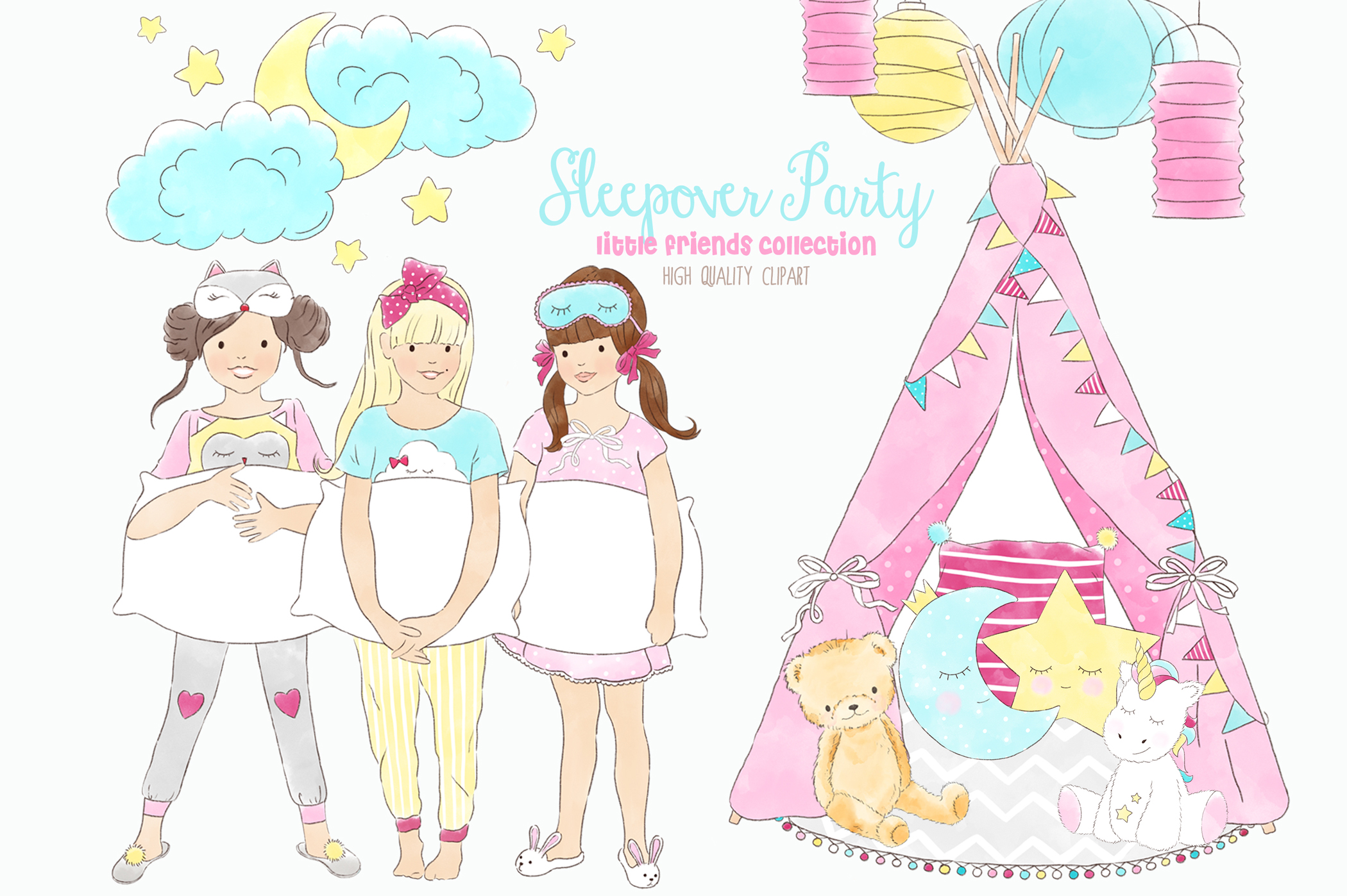Slumber Sleepover Pajama Party Clip Art.