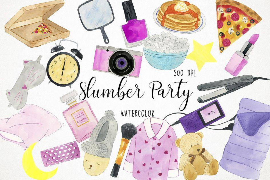Watercolor Slumber Party Clipart, Slumber Party Clip Art.
