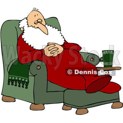 Free (RF) Clipart Illustration of Santa Slumbering In A Comfy.