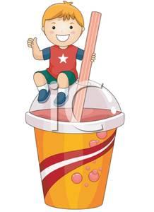 Boy Sitting Ontop of a Slurpee Cup.