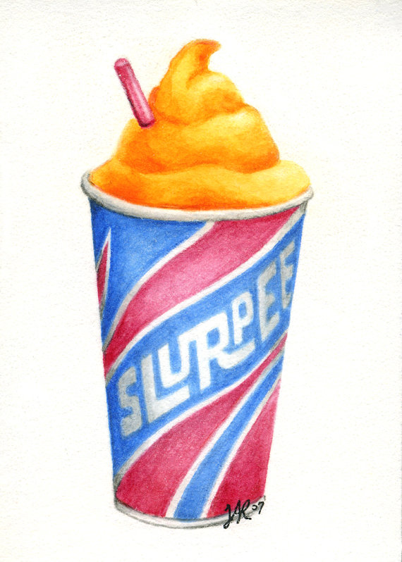 ACEO Art Print of Slurpee Frozen Drink Retro Cup by AlteredHippie.
