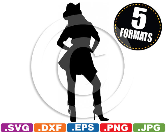 Sexy Cowgirl Clip Art Image svg & dxf cutting files for.